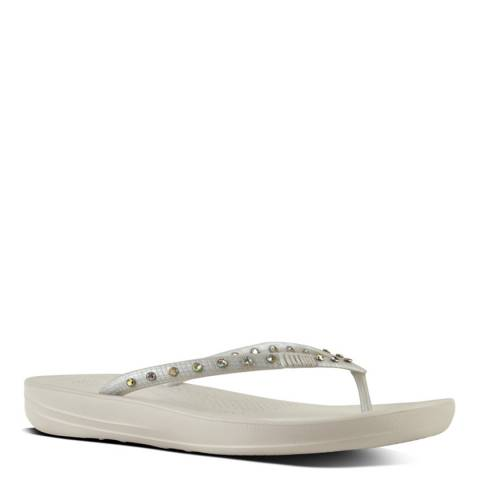 FitFlop Crystal Silver iQushion Flip Flop