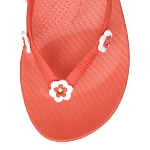 FitFlop Women's Coral Flower Stud iQushion Ergonomic Flip Flops
