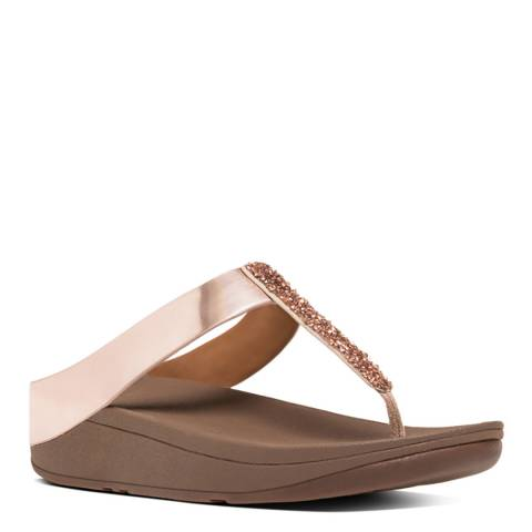 FitFlop Women's Rose Gold Fino Crystal Toe Post Sandals