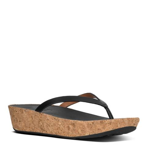 FitFlop Black Leather Linny Toe Post Sandals