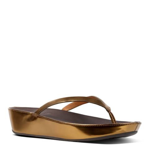 FitFlop Bronze Mirror Leather Linny Toe Post Sandals