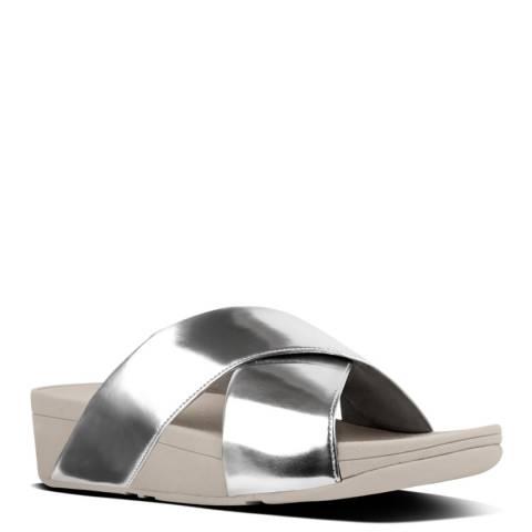 FitFlop Silver Mirror Cross Lulu Slide Sandals