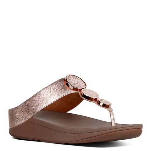 FitFlop Women's Rose Gold Leather Halo Toe Post Sandals