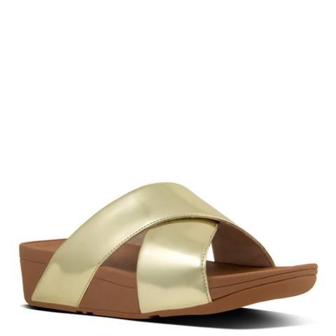 FitFlop Gold Mirror Cross Lulu Slide Sandals