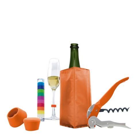 Pulltex 5 Piece Orange Wine & Champagne Set