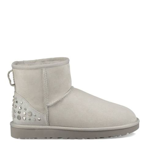 UGG Grey Violet Classic Diamante Mini Ankle Boots