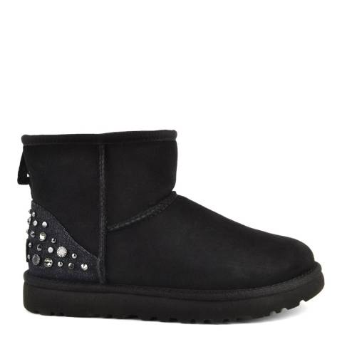 UGG Black Suede Mini Studded Bling Boots