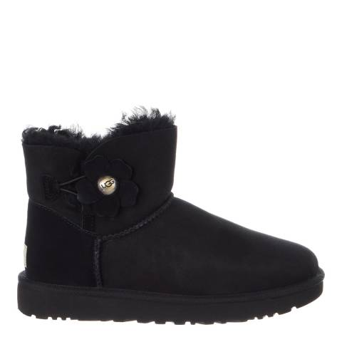 UGG Black Sheepskin Mini Bailey Button Poppy Boots