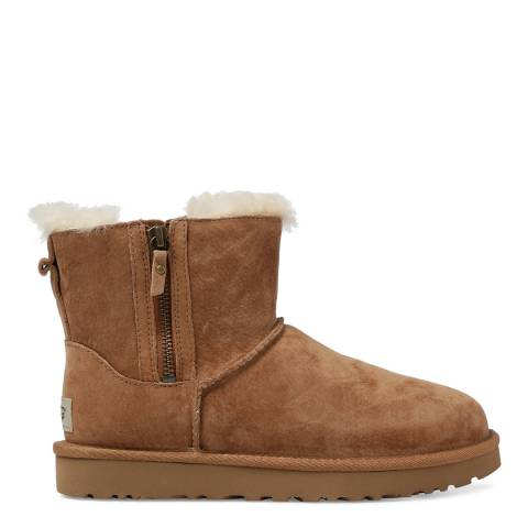UGG Chestnut Leather Classic Mini Double Zip Boots