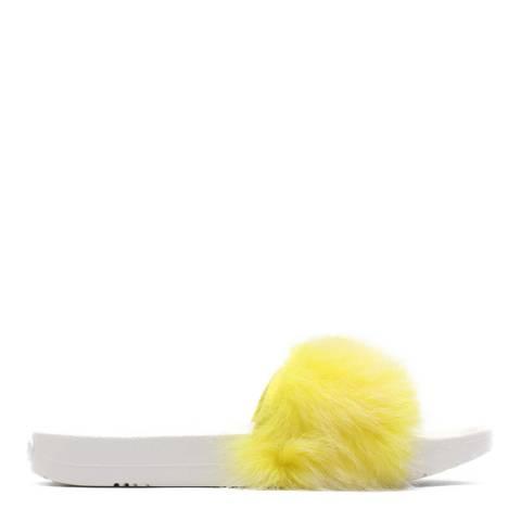 UGG Lemon Yellow Sheepskin Royale Tipped Slides