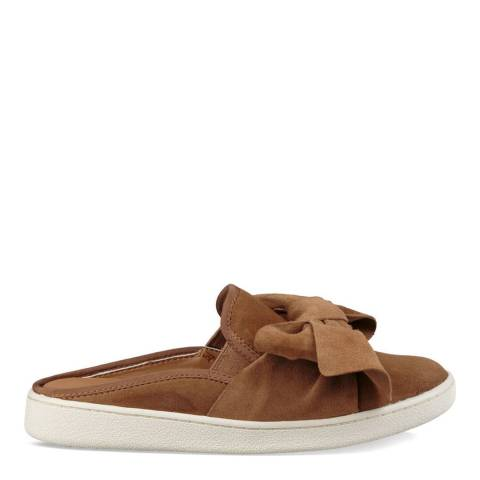 UGG Chestnut Suede Luci Bow Slip Ons