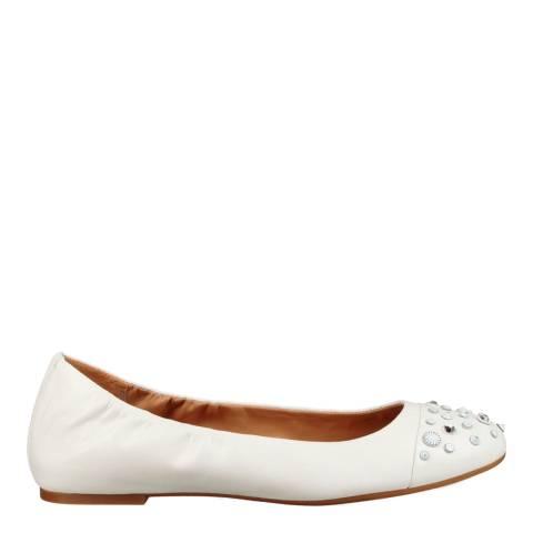 UGG White Leather Bliss Studded Bling Ballet Flats