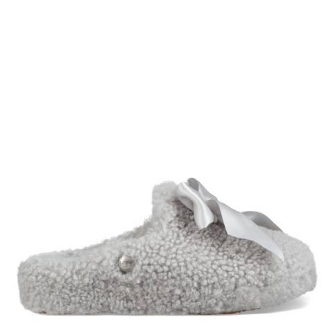 UGG Grey Violet Curly Sheepskin Addison Slippers