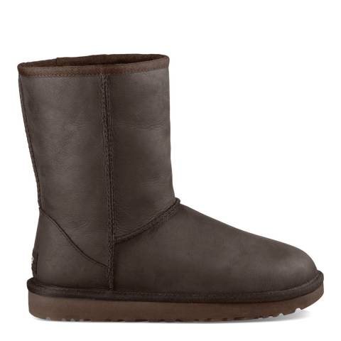 UGG Dark Brown Leather Classic Short Boots