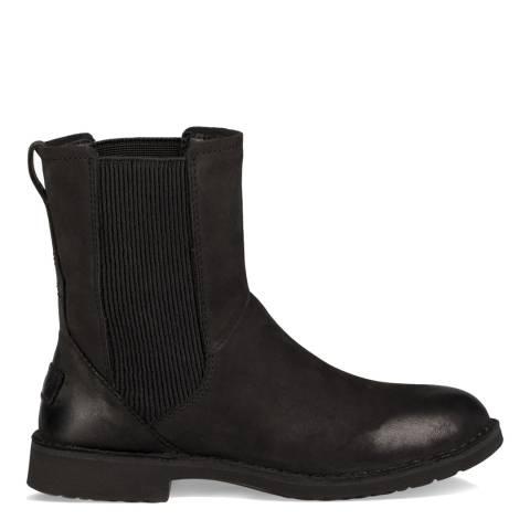 UGG Black Nubuck Leather Larra Chelsea Boots