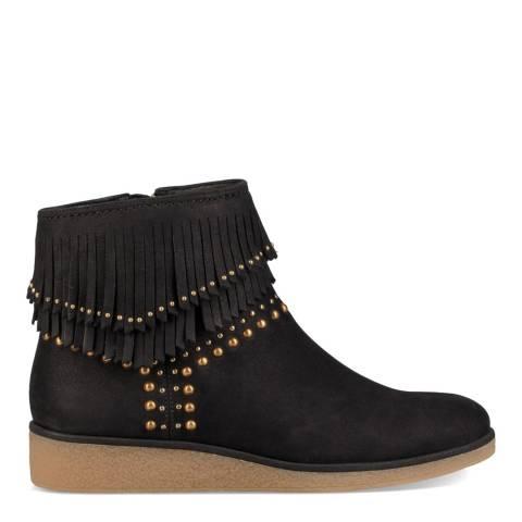 UGG Black Nubuck Ariane Fringe Ankle Boots