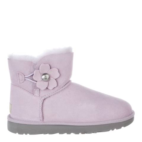 UGG Lavender Fog Suede Mini Bailey Button Poppy Boots
