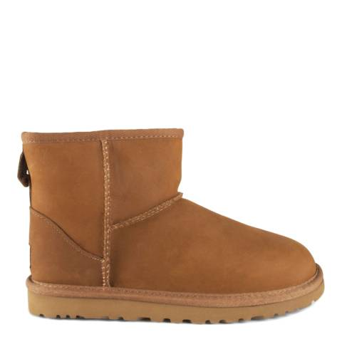 UGG Chestnut Leather Classic Mini Boots