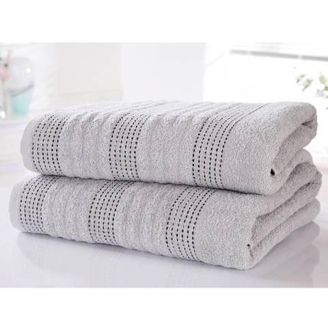 Rapport Spa Set of 2 Bath Sheets, Silver
