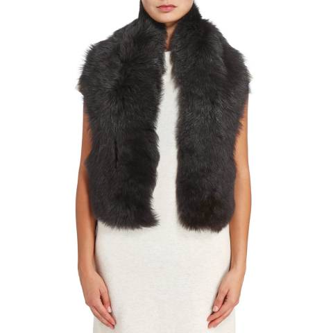 Laycuna London Black Brisa Sheepskin Scarf