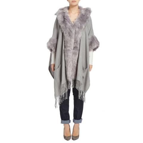 JayLey Collection Light Grey Cashmere Blend Mixed Faux Fur Cape Coat