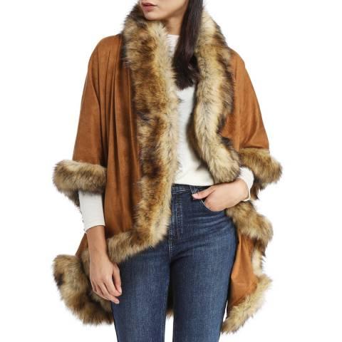 JayLey Collection Mocha Luxury Faux Fur Sued  Jacket