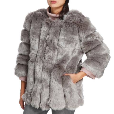 JayLey Collection Grey Luxury Faux Fur Silk Blend Coat