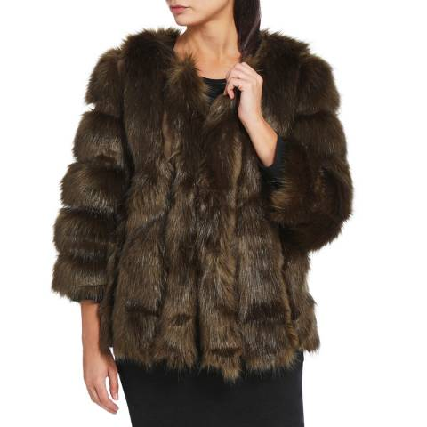 JayLey Collection Khaki Luxury Faux Fur Silk Blend Coat