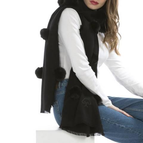JayLey Collection Black Cashmere Blend Faux Fur wrap
