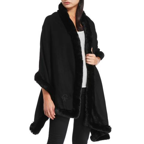 JayLey Collection Black Cashmere Blend Faux Fur Wrap