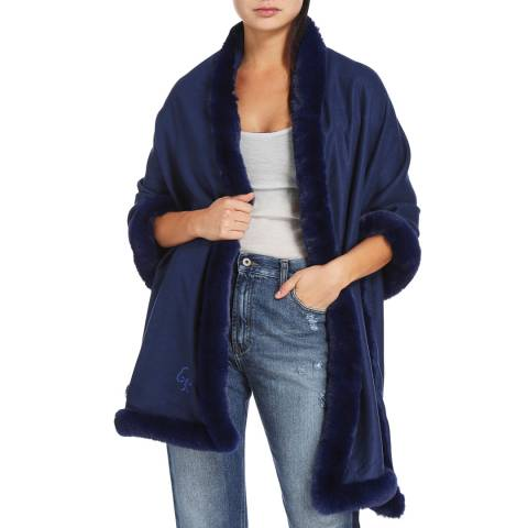 JayLey Collection Navy Cashmere Blend Faux Fur Wrap