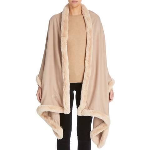 JayLey Collection Mocha Cashmere Blend Faux Fur Wrap