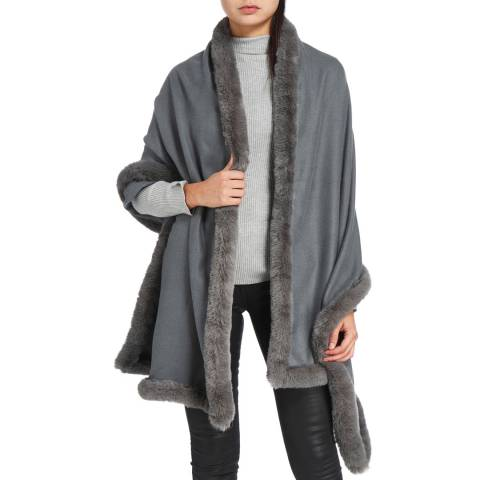JayLey Collection Grey Cashmere Blend Faux Fur Wrap