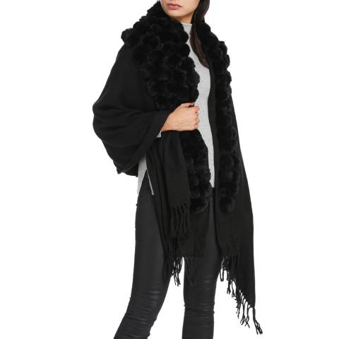 JayLey Collection Black Cashmere Blended Faux Fur Wrap
