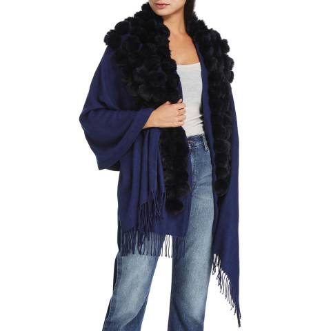 JayLey Collection Navy Cashmere Blended Faux Fur Wrap