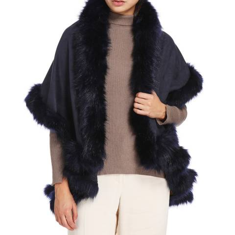 JayLey Collection Navy Luxury Faux Fur Suede Cape Coat
