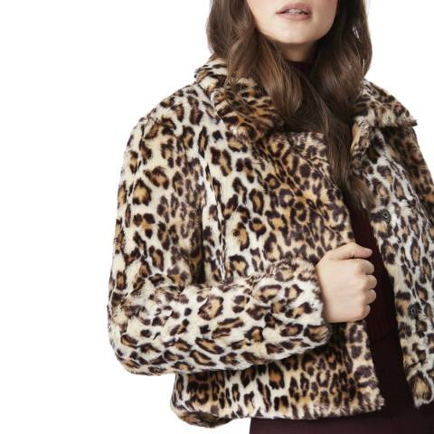 JayLey Collection Luxurious Mocha Leopard Print Faux Fur Silk Blend Jacket