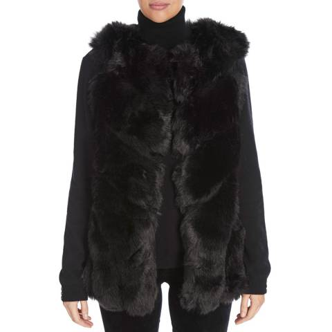JayLey Collection Black Faux Fur Silk Blend Long Gilet
