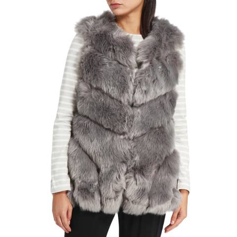 JayLey Collection Grey Faux Fur Silk Blend Long Gilet