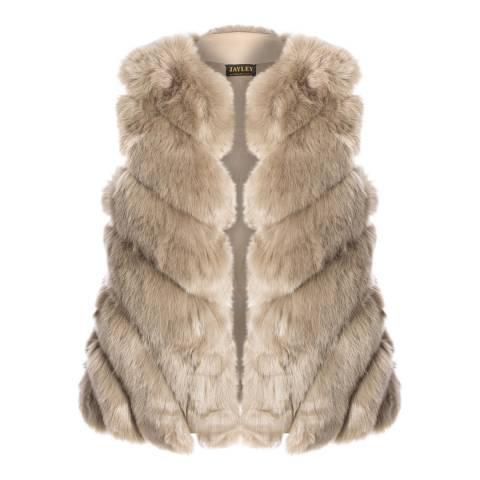 JayLey Collection Mocha Faux Fur Silk Blend Long Gilet