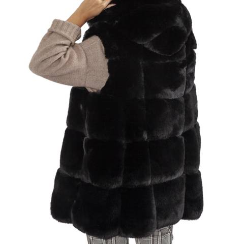 JayLey Collection Black Luxury Faux Fur Gilet