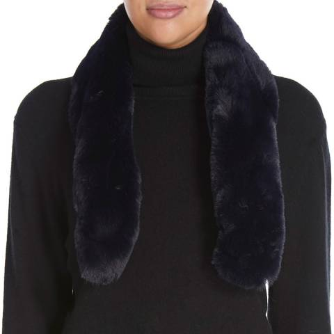 JayLey Collection Navy Luxury Faux Fur Scarf