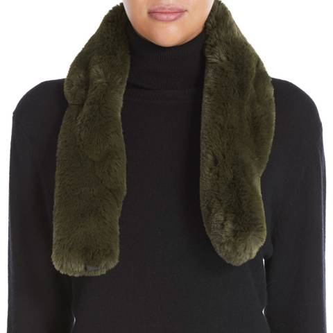 JayLey Collection Khaki Luxury Faux Fur Scarf