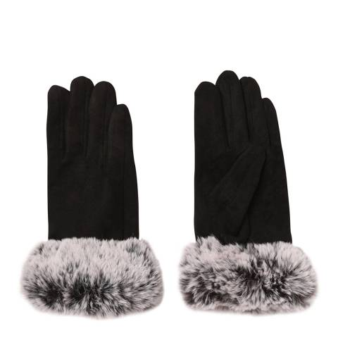 JayLey Collection Black Faux Suede Fur Trim Gloves