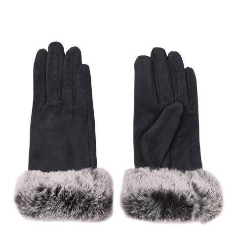 JayLey Collection Navy Faux Suede Fur Trim Gloves