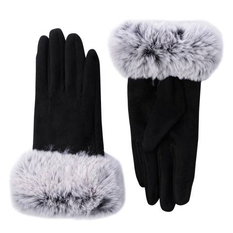 JayLey Collection Black Suedette Gloves With Contrast Faux Fur Trim