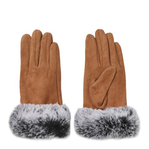 JayLey Collection Mocha Suedette Gloves With Contrast Faux Fur Trim
