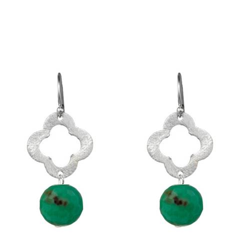 Alexa by Liv Oliver Sea Green Gemstone Clover Earrings