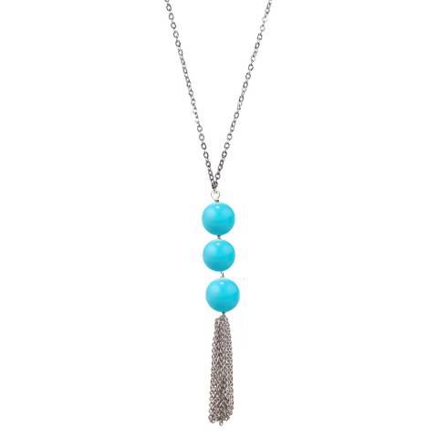 Alexa by Liv Oliver Turquoise Tassel Necklace