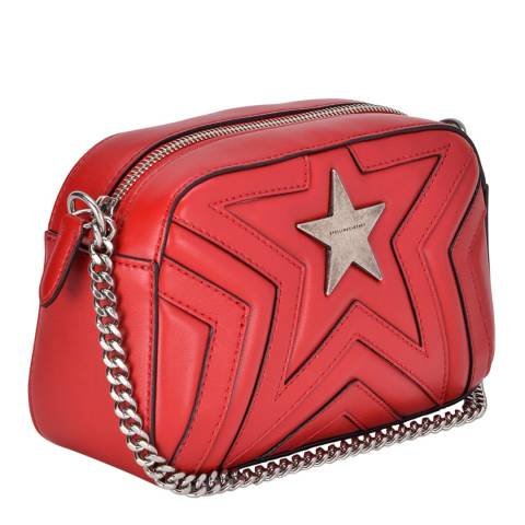 Stella McCartney Red/Black Stitching Small Stella Star Shoulder Bag